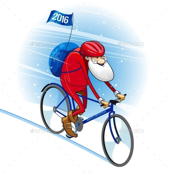 Santa Bicyclist - Christmas Seasons/Holidays
