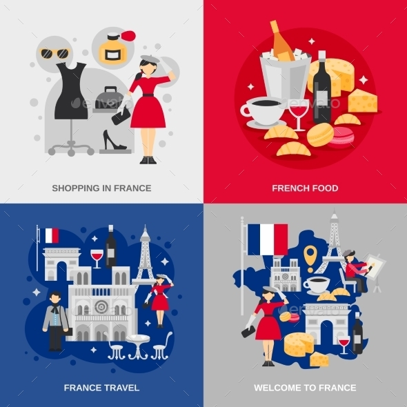 France Flat Set - Travel Conceptual