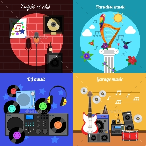 Melody and Instruments Banners Set  - Sports/Activity Conceptual