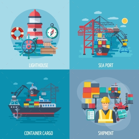 Sea Port Flat Set - Miscellaneous Vectors
