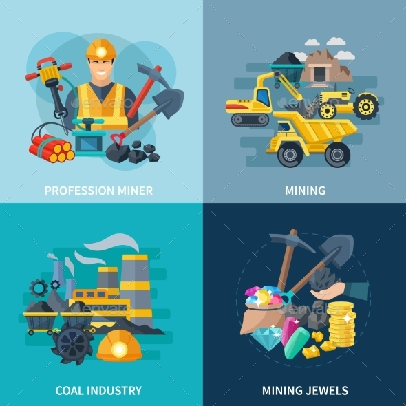 Mining Icons Flat Set - Industries Business