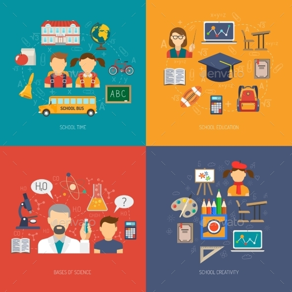 Education Flat Set - Miscellaneous Vectors
