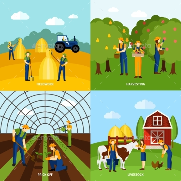 Farming 4 Flat Icons - Industries Business