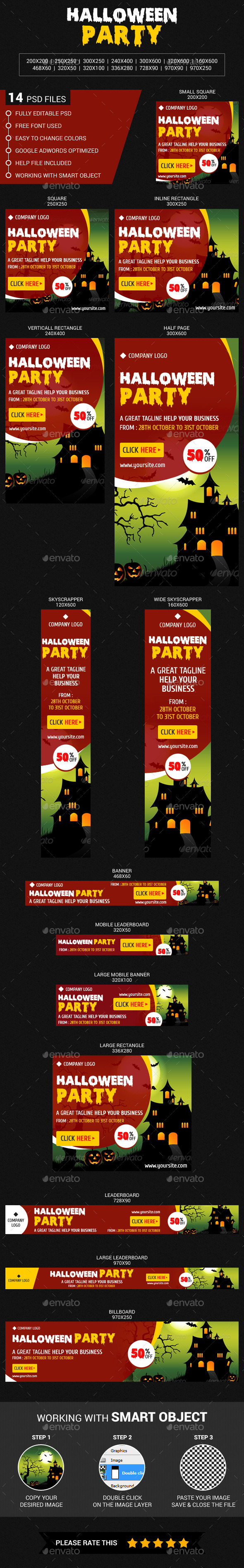 Halloween Party - Banners & Ads Web Elements