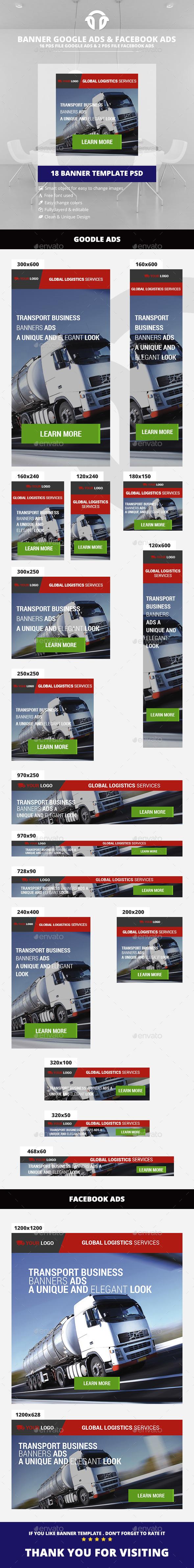 Logistics Service Banners - Banners & Ads Web Elements