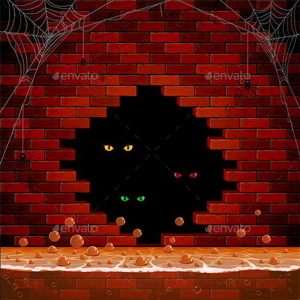 Eye in the Hole of the Brick Wall - Halloween Seasons/Holidays