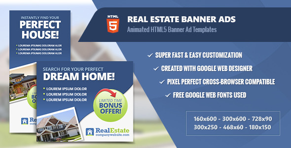 Real Estate Banner Ads - HTML5 Animated by InfiniWeb | CodeCanyon