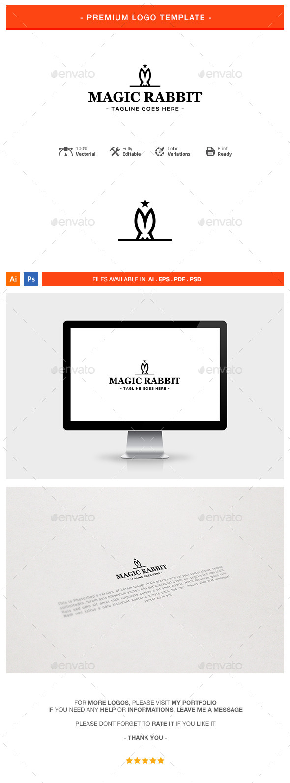 Magic Rabbit Logo Template - Animals Logo Templates