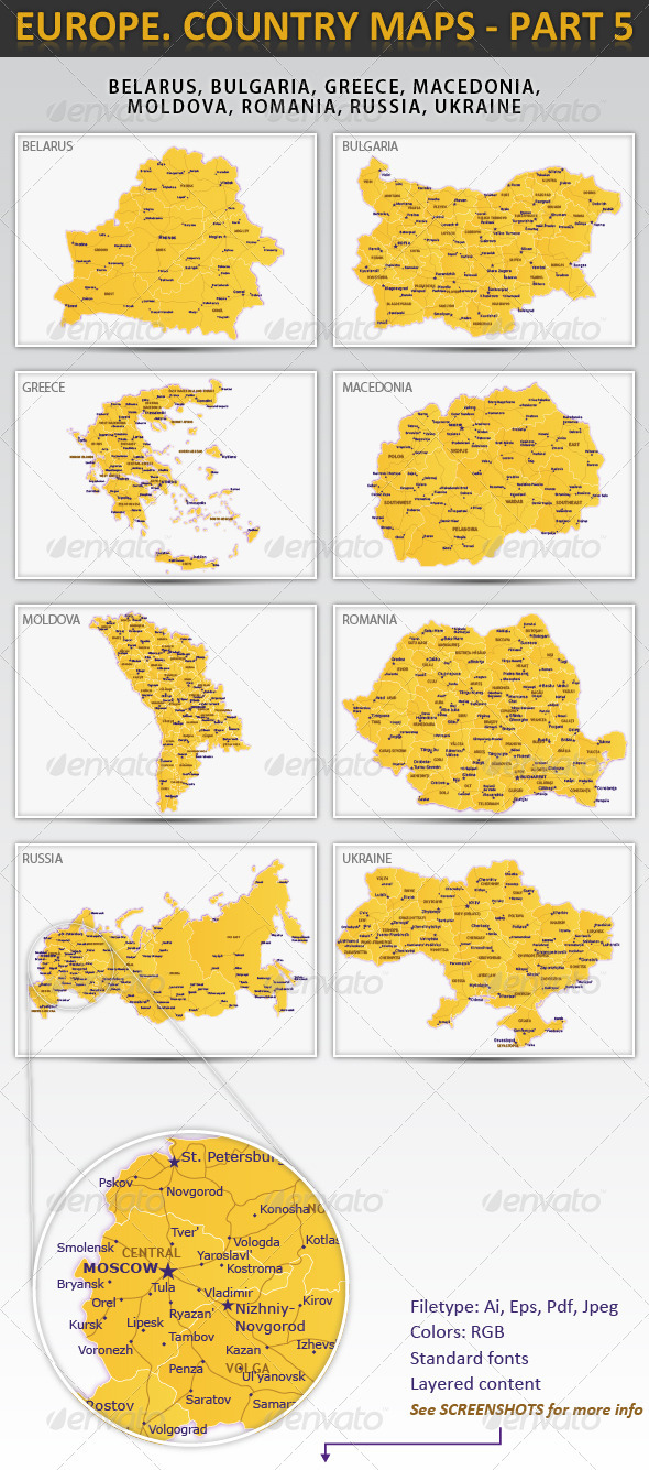 Europe. Country maps - part 5 - Miscellaneous Vectors