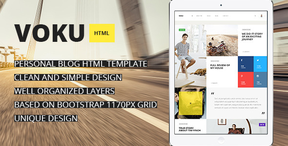 Voku – Minimal Portfolio and Blog HTML Template