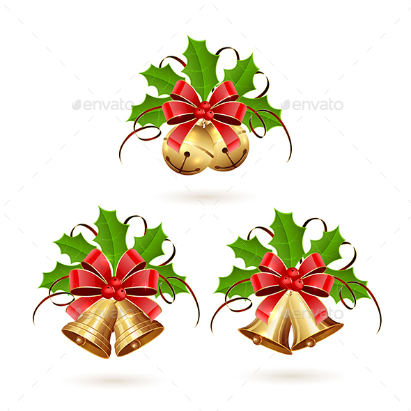 Set of Christmas Bells with Ribbon - Christmas Seasons/Holidays