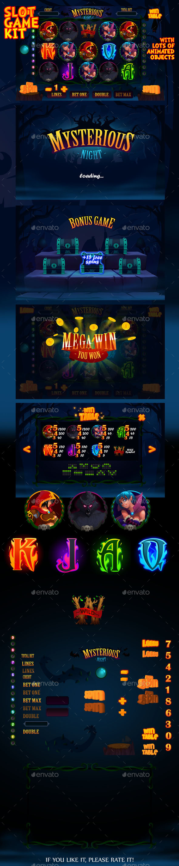 Mysterious night slot game kit - Game Kits Game Assets
