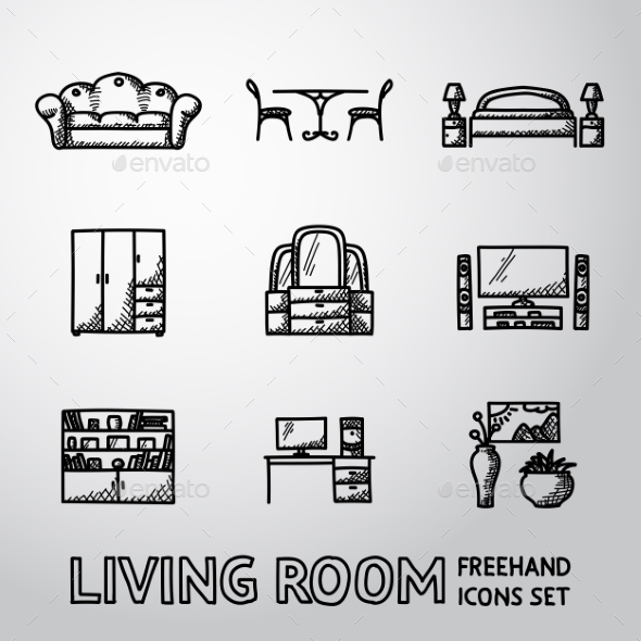 Set of Living Room Freehand Icons - Man-made Objects Objects