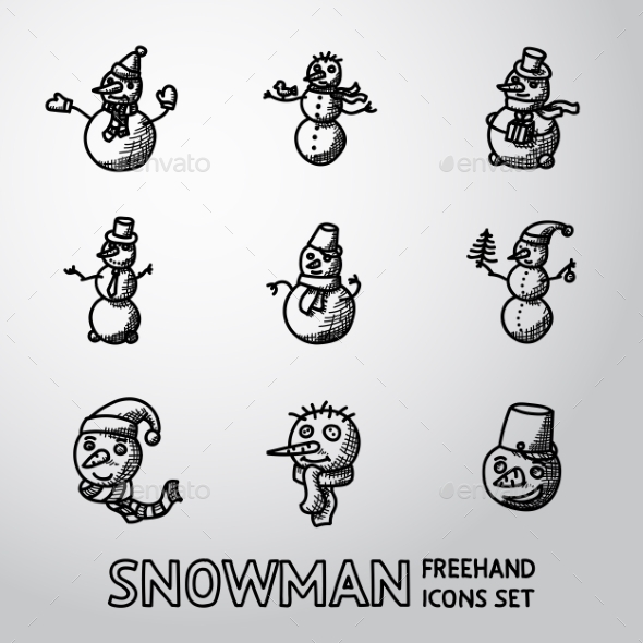 Set of Freehand Snowman Icons - Christmas Seasons/Holidays