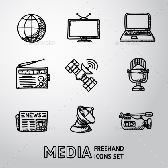 Set of Handdrawn Media Icons - Web Technology
