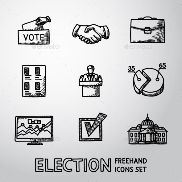 Set of Handdrawn Election Icons - Decorative Symbols Decorative