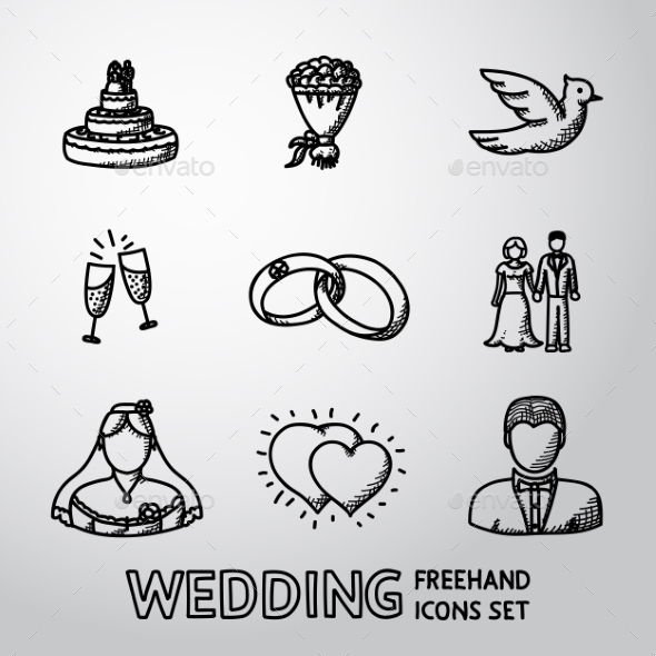 Set of Handdrawn Wedding Icons - Weddings Seasons/Holidays