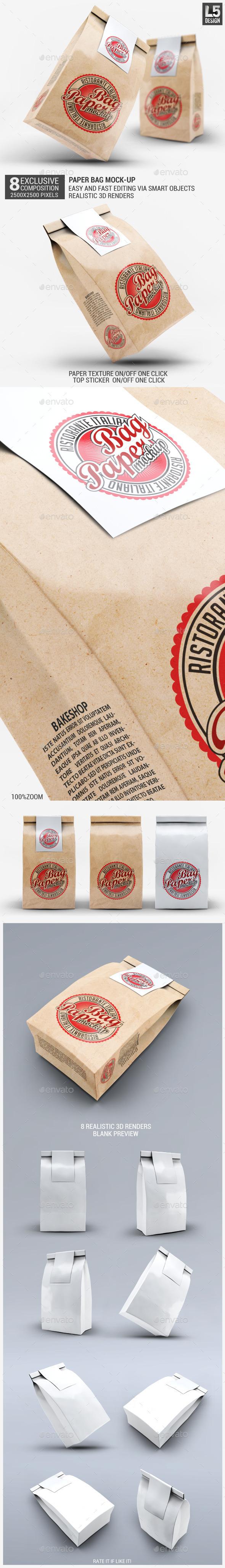 Paper Bag Mock-Up - Food and Drink Packaging