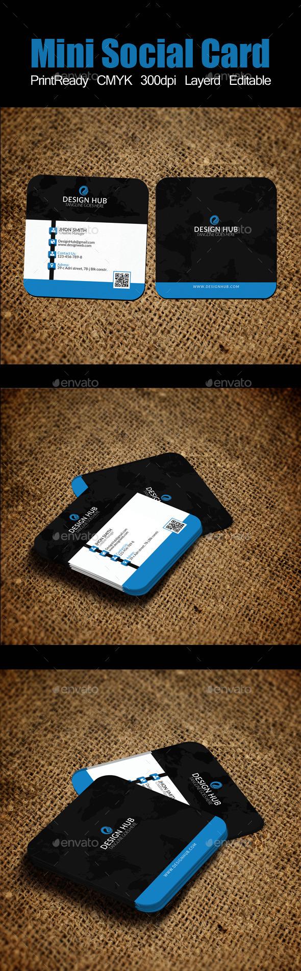 Mini Social Card Template - Corporate Business Cards