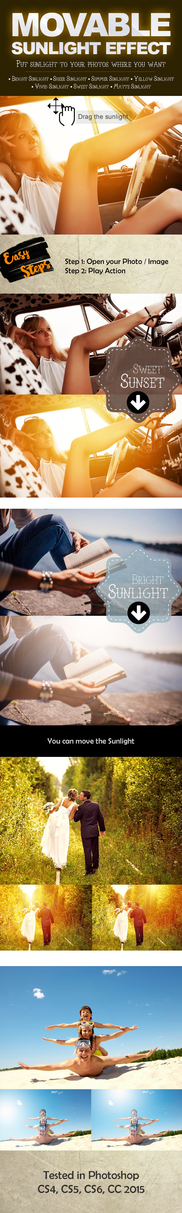 Movable Sunlight Effects Photoshop Actions - Photo Effects Actions