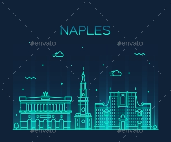 Naples Skyline Silhouette Linear Style - Landscapes Nature
