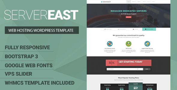 ServerEast - VPS Hosting Wordpress Theme + WHMCS