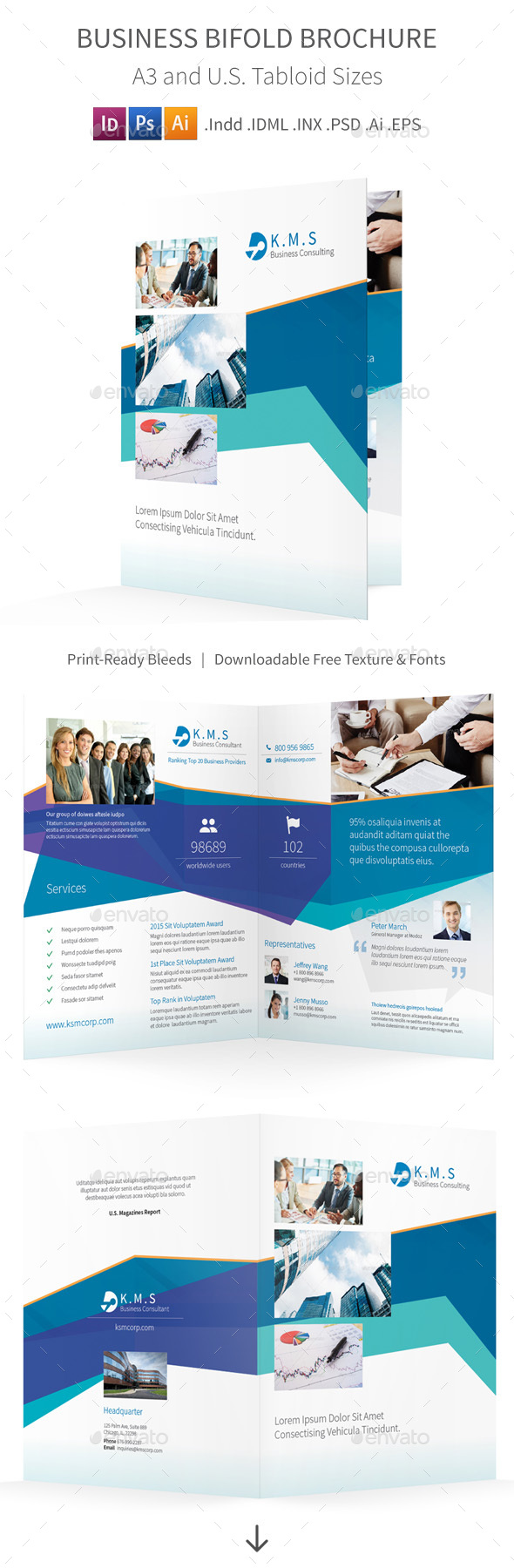 Business Consulting Bifold / Halffold Brochure - Corporate Brochures