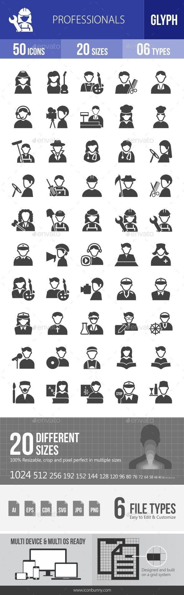 Professionals Glyph Icons - Icons