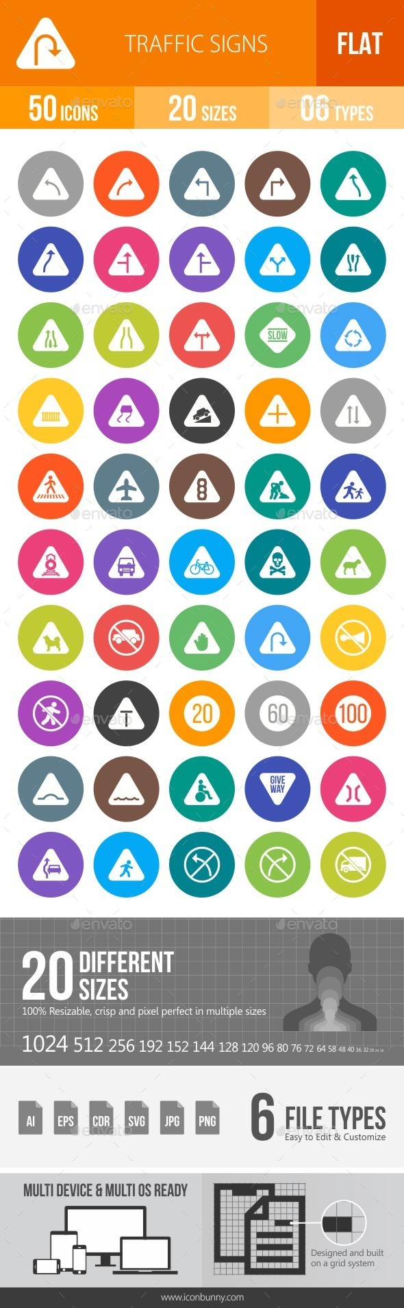 Traffic Signs Flat Round Icons - Icons