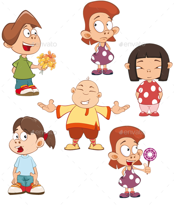 Set of Cute Cartoon Girls and Boys for you Design  - People Characters