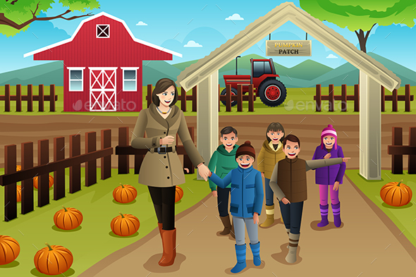 Teacher with Students on a Pumpkin Patch Trip - Seasons/Holidays Conceptual