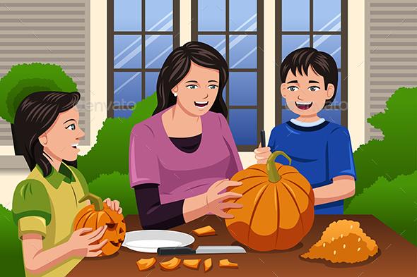 Mother Kids Carving Pumpkins - Halloween Seasons/Holidays