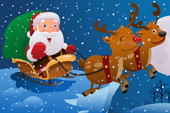 Santa Claus Riding the Sleigh - Christmas Seasons/Holidays