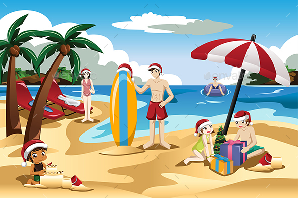 Family Celebrating Christmas on the Beach - Travel Conceptual