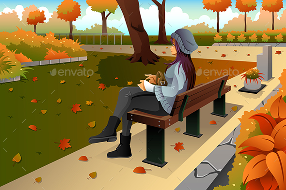Girl Sitting on the Bench - People Characters