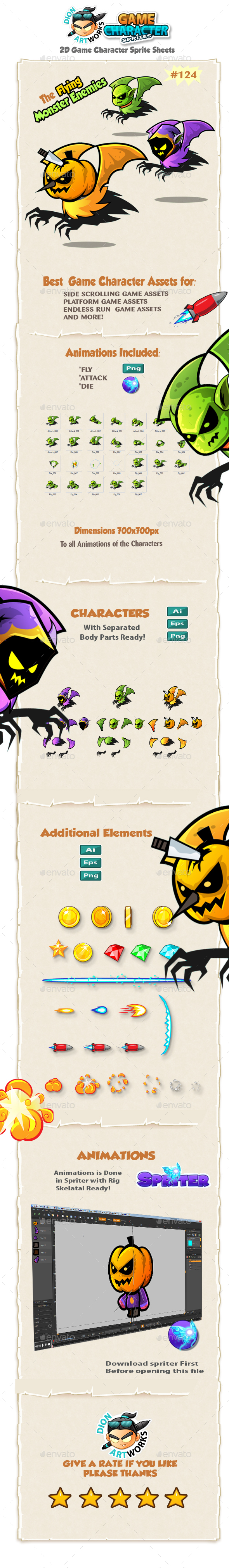 Flying Monsters 2D Game Character Sprites 124 - Sprites Game Assets