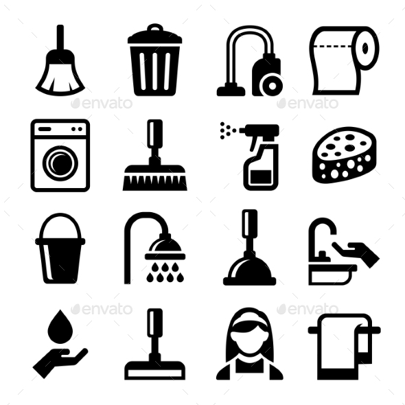 Cleaning Icons Set On White Background. Vector - Miscellaneous Icons