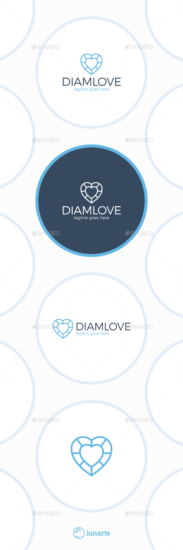 Diamond Love Logo - Two Heart - Symbols Logo Templates