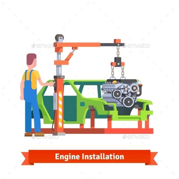 Car Production Line Or Repair Shop - Objects Vectors