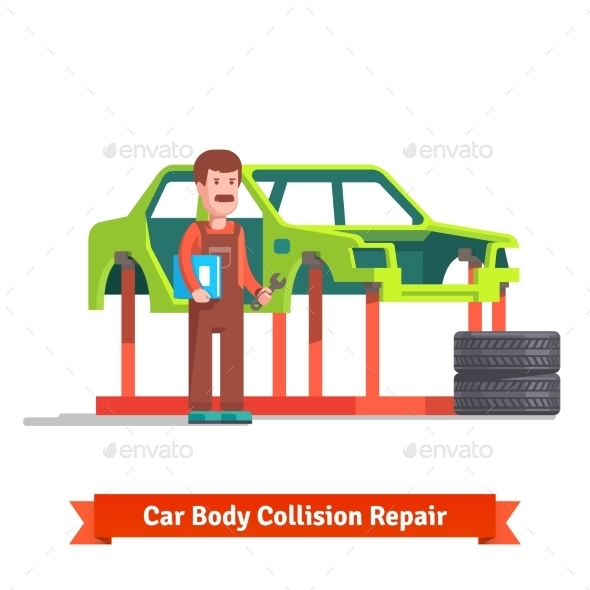 Collision Repair Center Specialist Checking Car - Services Commercial / Shopping