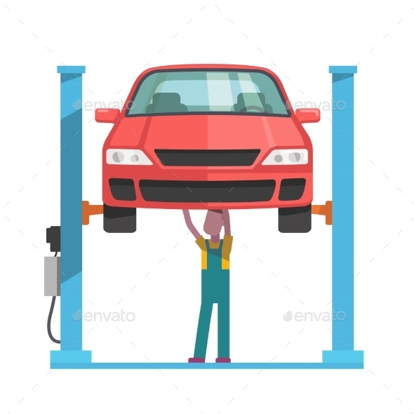 Mechanic Repairing a Car Lifted on Auto Hoist - Industries Business