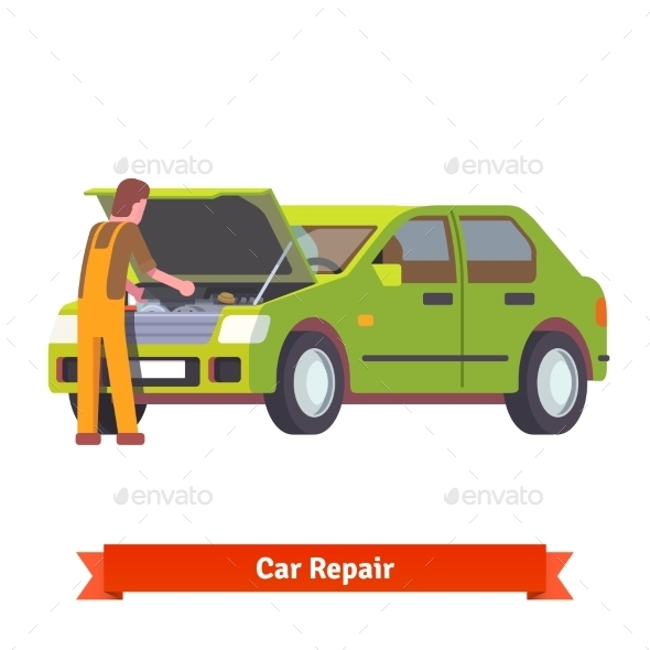 Car Mechanic Checking Engine at Car Service - Industries Business