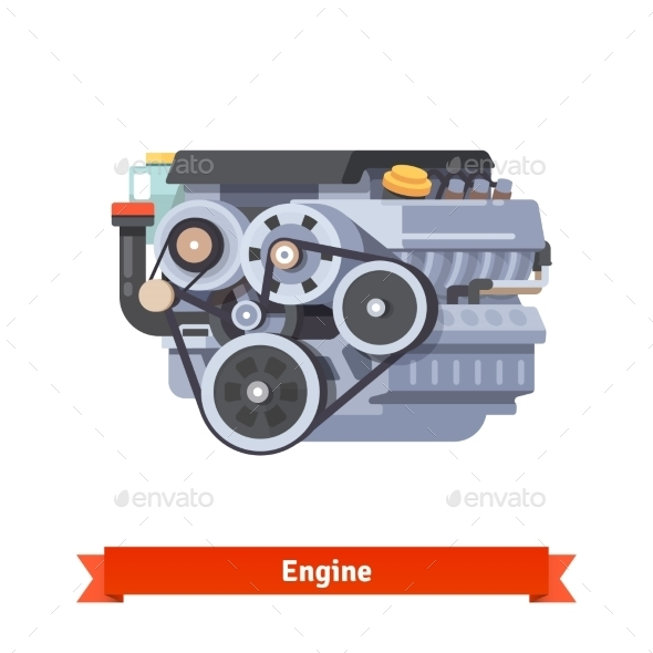 Modern Car Internal Combustion Engine - Man-made Objects Objects