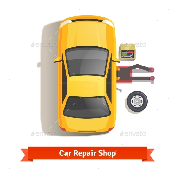 Car Mechanic Lying Under Car Doing Repair Work - Industries Business