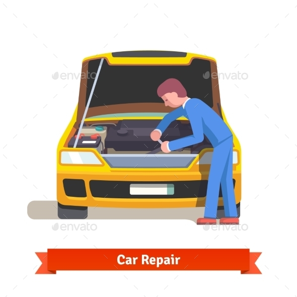 Car Mechanic Repairs Engine at Car Service Station - Industries Business