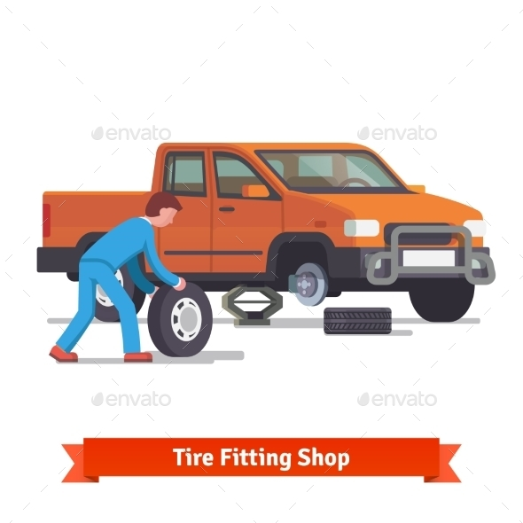 Car Mechanic Rolling Tire To Change It - Industries Business