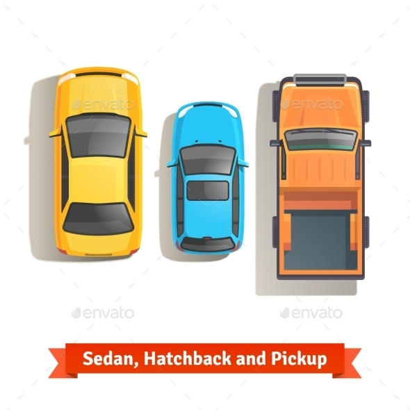 Cars and Pickup Truck Top View - Man-made Objects Objects