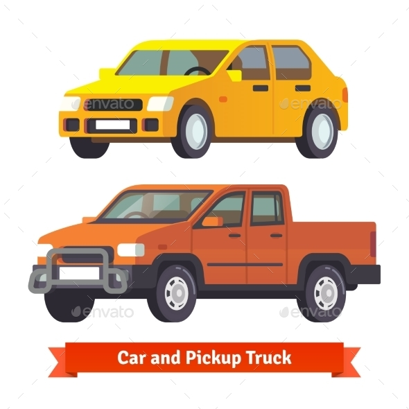 Pickup Truck and Middle Sized Sedan - Man-made Objects Objects