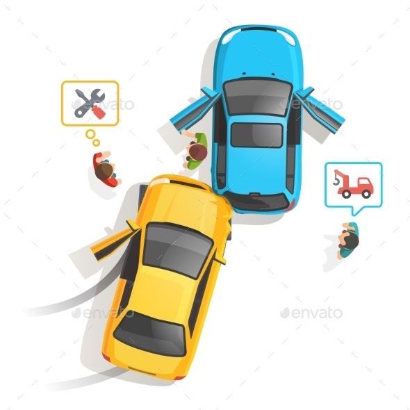 Car Traffic Accident Top View - Abstract Conceptual