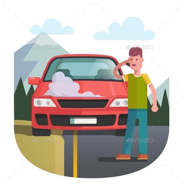 Man on a Roadside Standing Near Broken Car - Miscellaneous Vectors